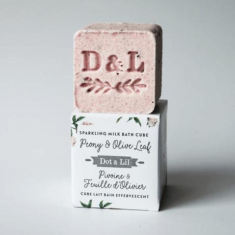 Dot & Lil - Cube lait bain effervescent pivoine & feuille d'olivier