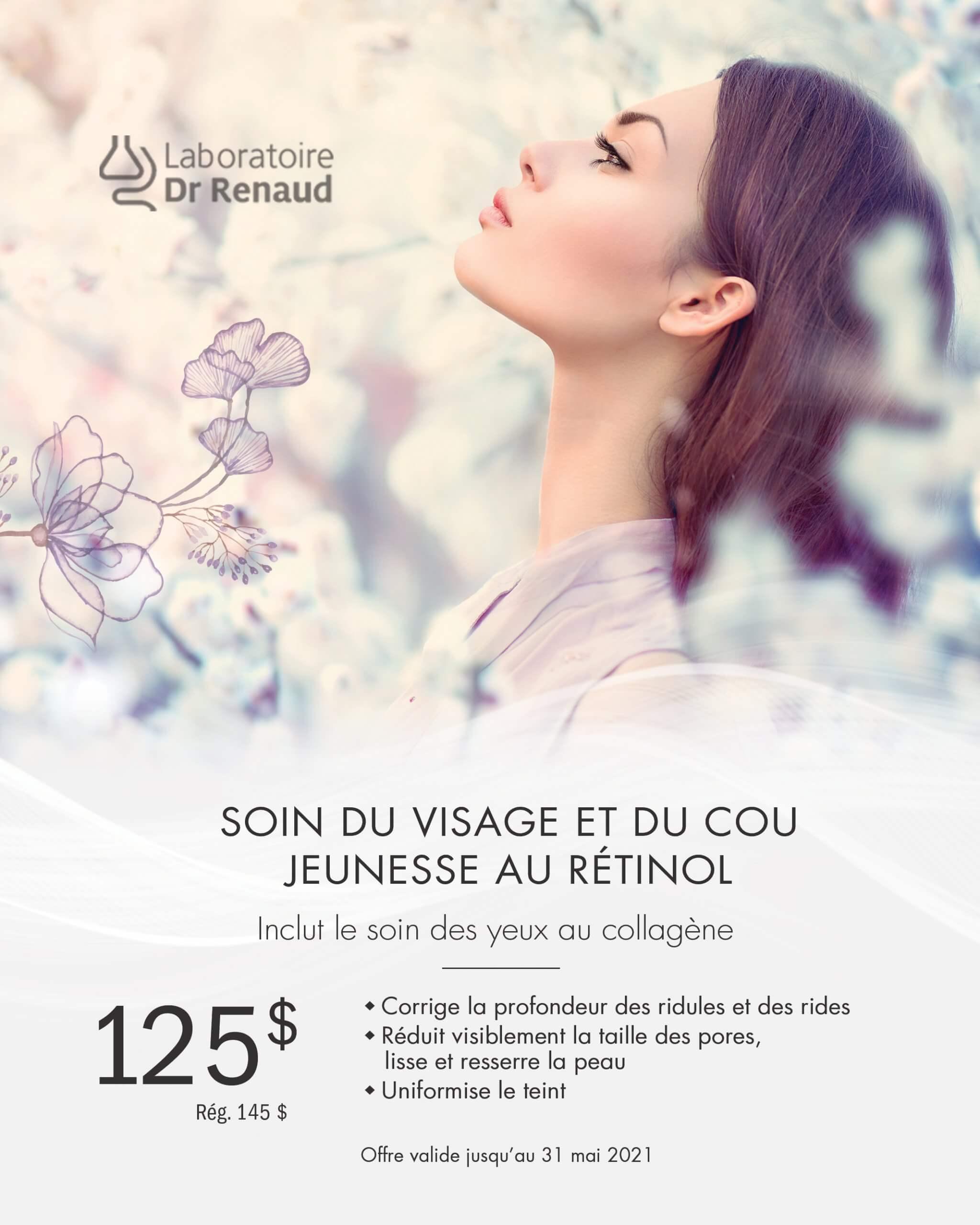Promotion Soin du visage et cou | Laboratoire Dr Renaud | Esthéticienne Longueuil
