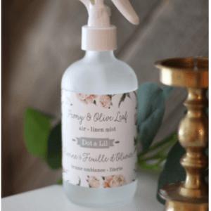 brume ambiance et literie - pivoine et feuille olivier - dot and lil - esthéticienne longueuil
